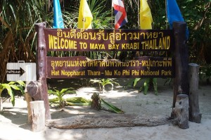 Phi Phi island tour maya bay sign